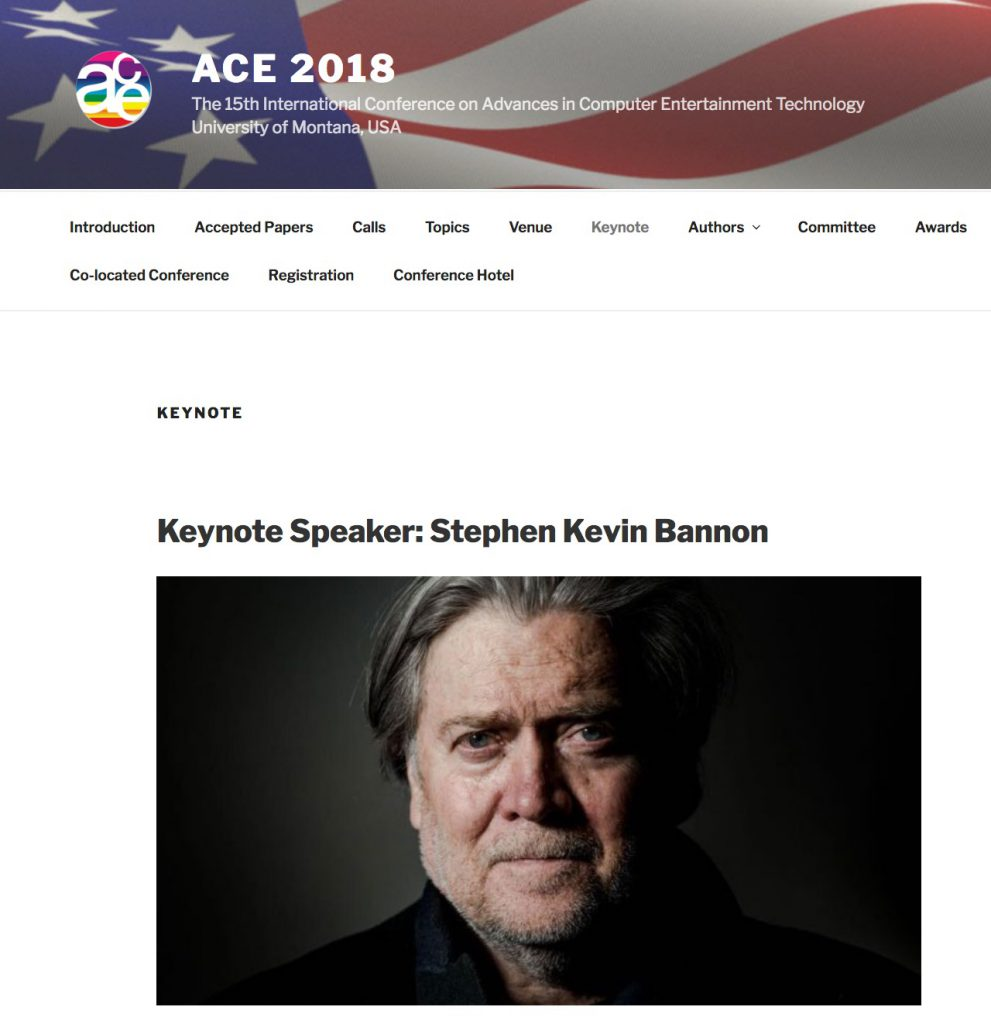 Screenshot of ACE 2018 conference listing Steve Bannon as keynote speaker